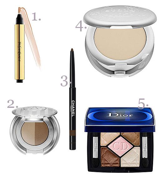 YSL Touche Eclat, Anastasia Brow Duo, Stila Illuminating Powder Foundation, Chanel Stylo Yeux Waterproof, Dior 5-Colour Eyeshadow