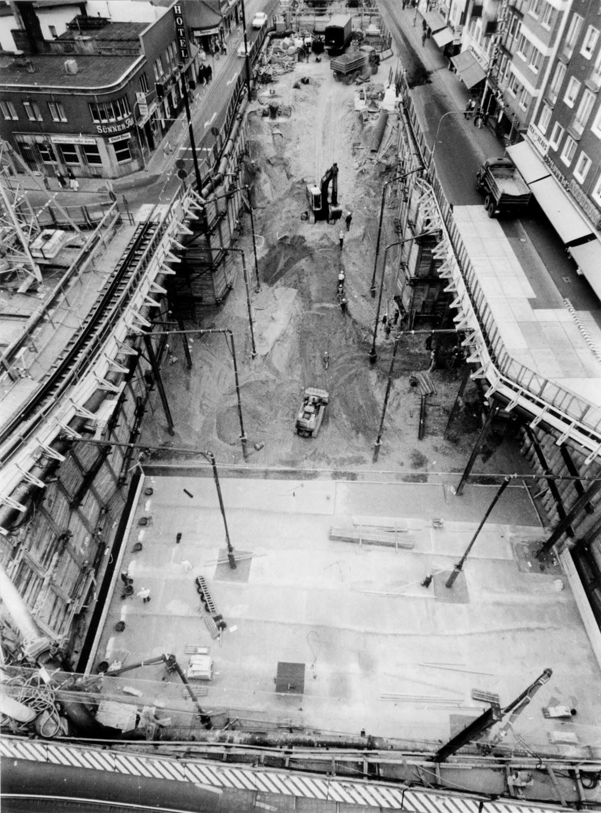 Baustelle Historisch, Köln Kalk, U-Bahnbau, 1970er Jahre