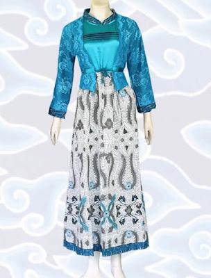 Gamis Batik Kombinasi Brokat Lace