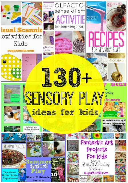 130 sensory play ideas for learning and messy, sensory fun with kids.