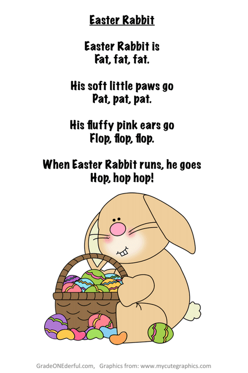 Poem about the Easter Rabbit suitable for first grade. Freebie includes a colour version, a black and white version and a version with blank spaces for printing the rhyming words.