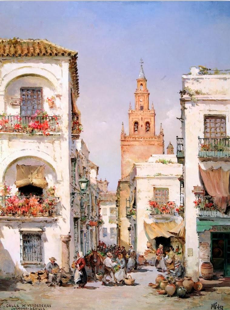 Cuadros modernos pinturas y dibujos los pueblos viejos for Todo pintura sevilla