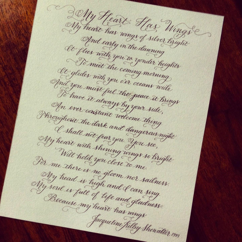 special wedding poem calligraphy