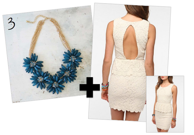 lace dress, blue flower necklace, holiday outfit