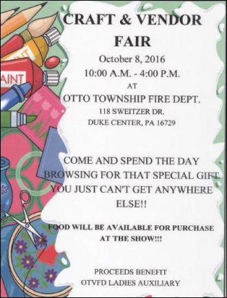 10-8 Craft & Vendor Fair Otto Twp FVD