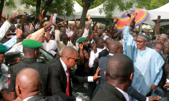 See how close those youths came to President Buhari (photos)