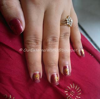 Bridal Nail Art - Gold Peacock Water Decals