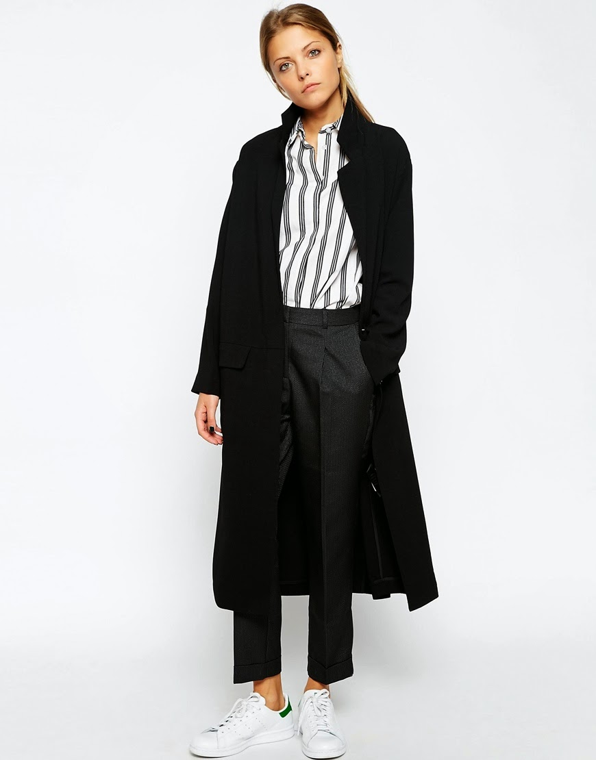 black asos duster coat, black long asos coat,