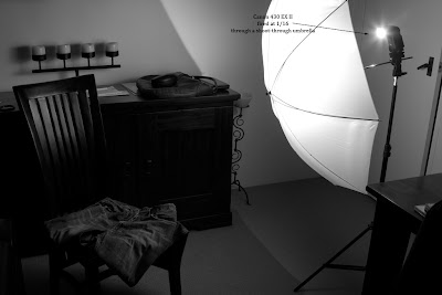 Lighting setup for the photograph of Jeans above