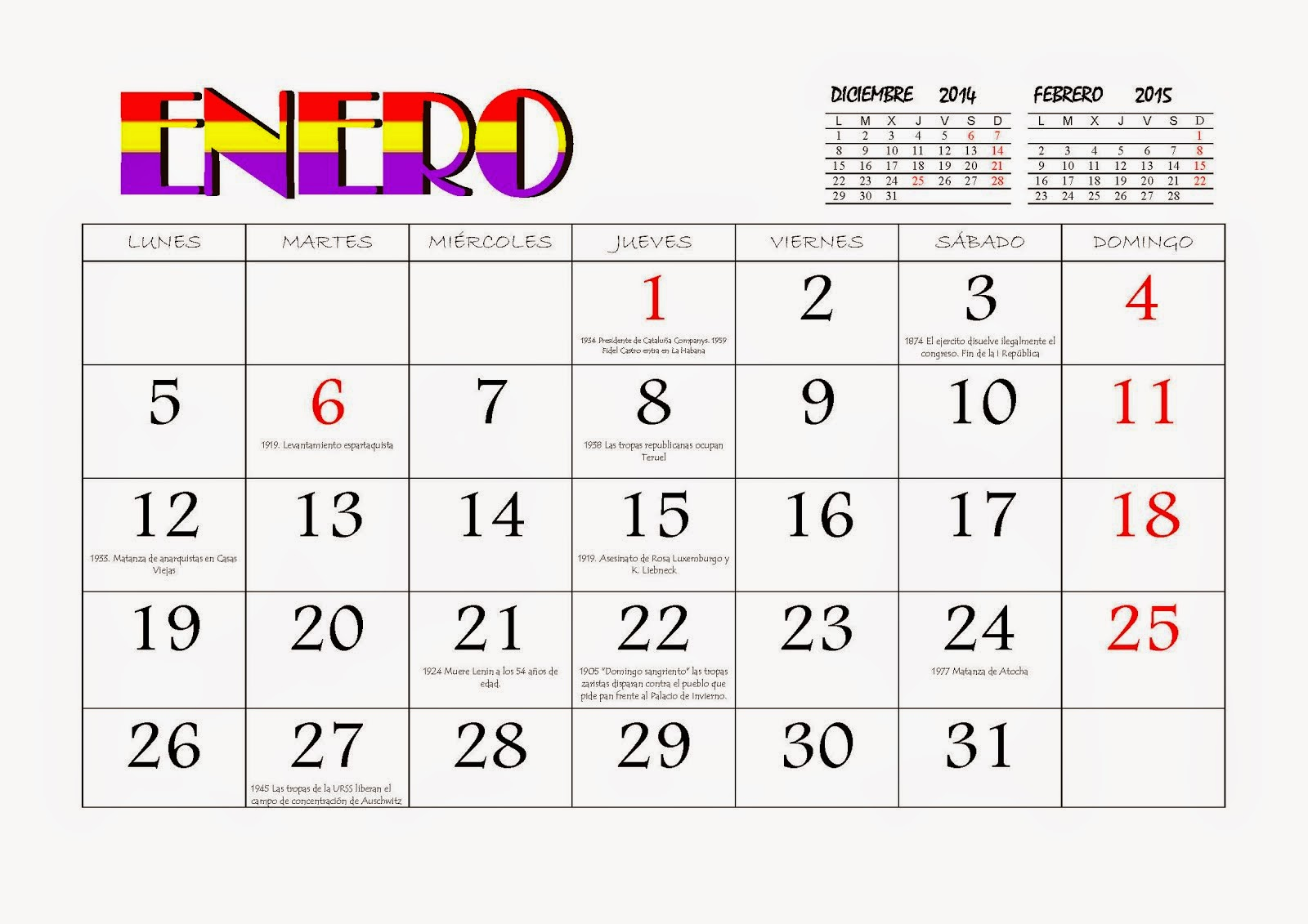 Calendario republicano 2015