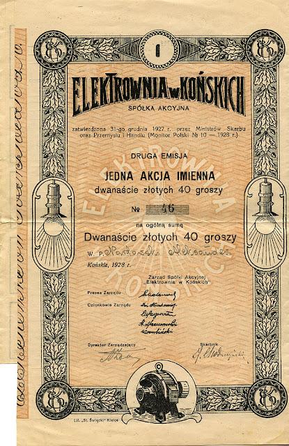 Elektrownia w Końskich - jedna akcja imienna drugiej emisji 1928. Dok. ze zborów KW.