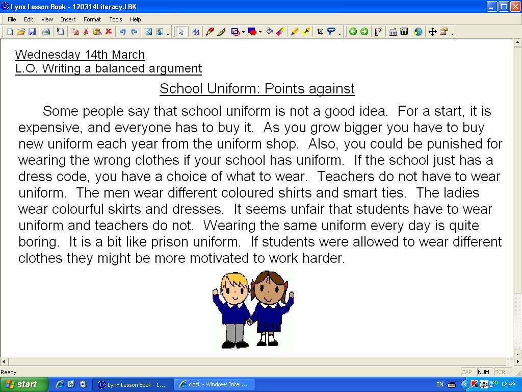 Out School uniform argument doesn't much