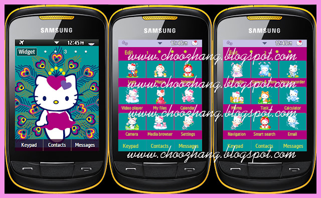 Samsung Corby 2 or S3850 - Hello Kitty + Violet-Purple Themes