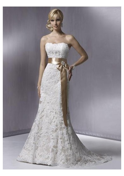 Both you fully cover the wedding dress with lace or you only embellish a