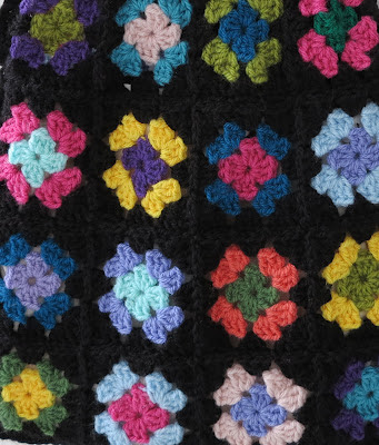 crochet, small granny squares, black, colourful, bag, Haafner