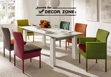 modern dining room furniture with colorful chairs - Colorful Modern Dining Room