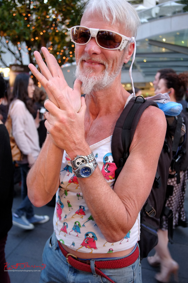 Mens Style Sydney - VFNO - Two watches, jeans singlet white sunglasses - Fujifilm X-Pro1