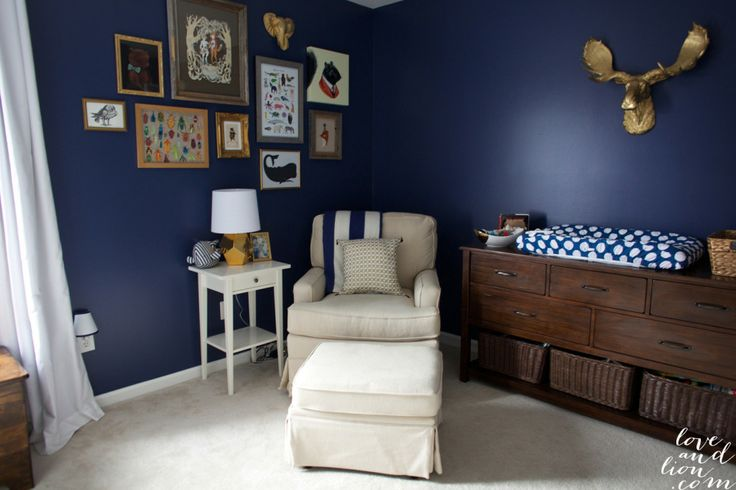 navy nursery, boy nursery, navy and gold nursery