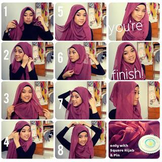Cara Pake Jilbab Paris Segi Empat Simple 3