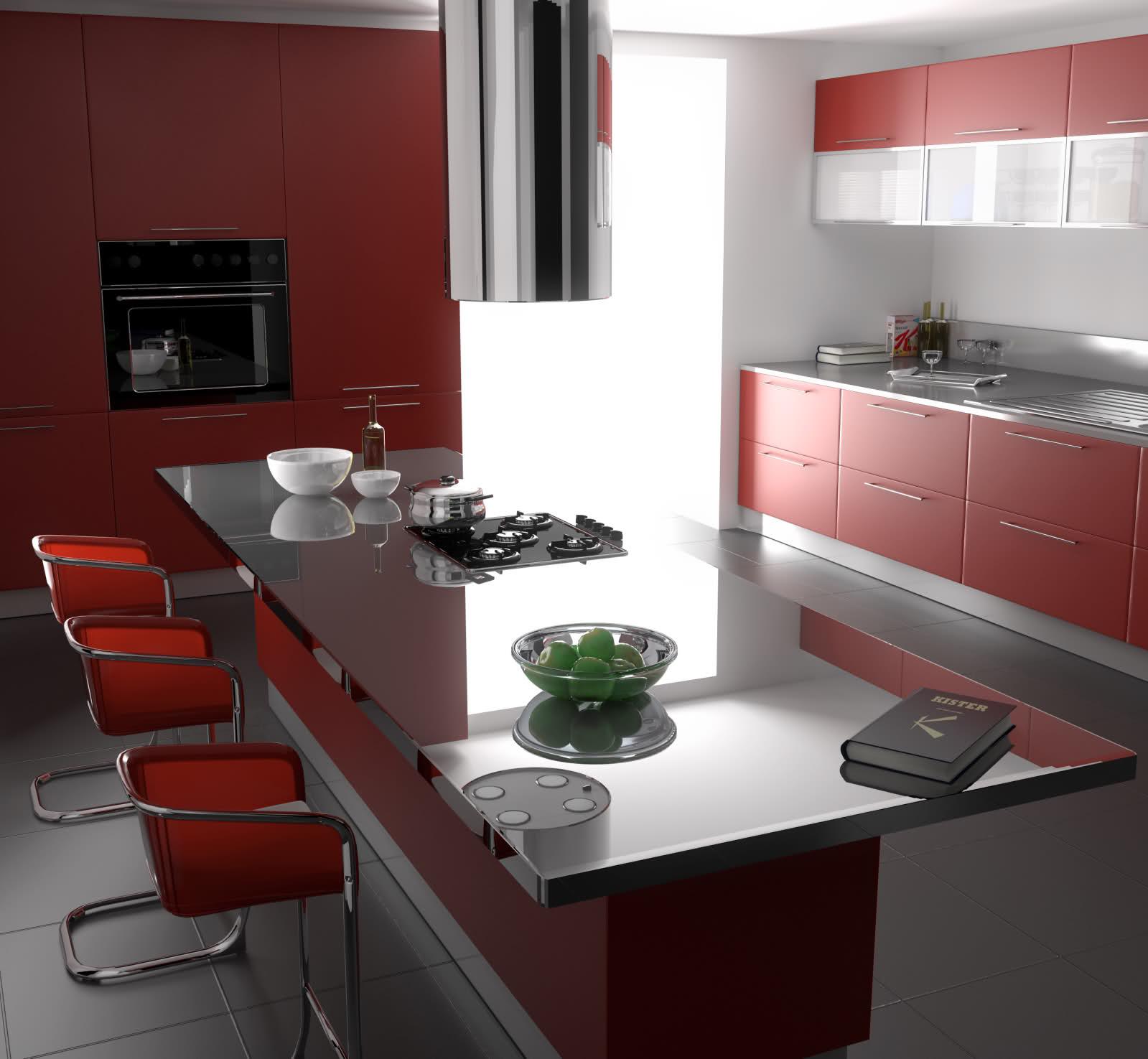 Modern Kitchen Set Red: Gambar Desain Interior Minimalis: Gambar Dapur Minimalis