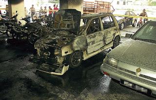 kenderaan di bakar,blok D pangsapuri nilam