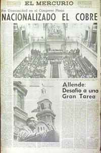 ANTECEDENTE Y RECORDATORIO DE NACIONALIZACION DEL COBRE EN CHILE.