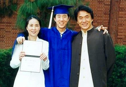 Jackie Chan along with his wife and son