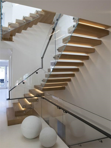 modern stairs staircase stairwell floating steps glass railing Nbaynadamas interior design