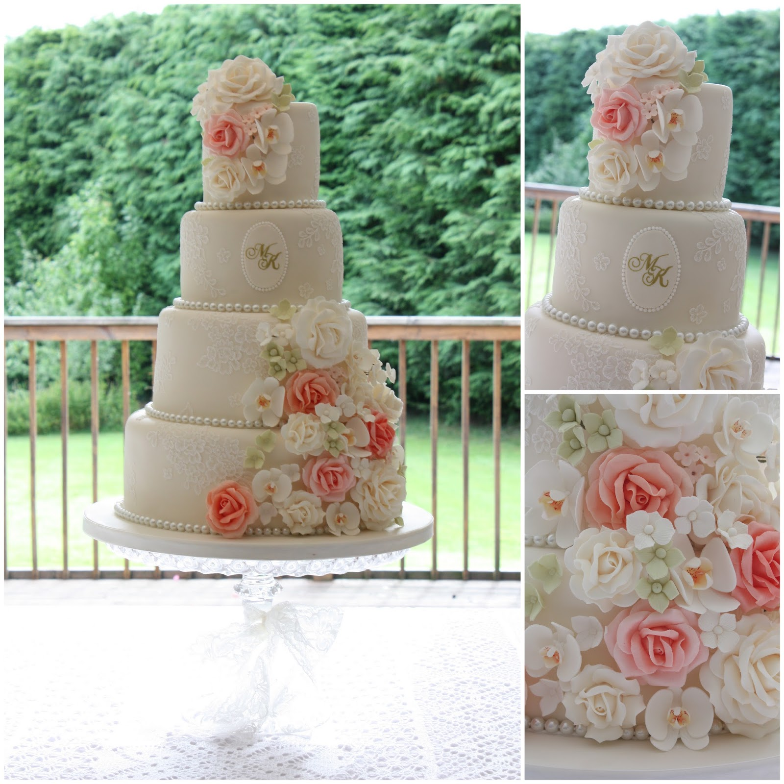 Tiers & Tiaras Vintage Lace Roses & Orchids Wedding Cake