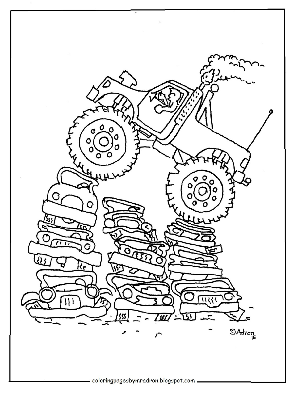Coloring Pages for Kids by Mr. Adron: Printable Monster Truck Coloring  Free Download