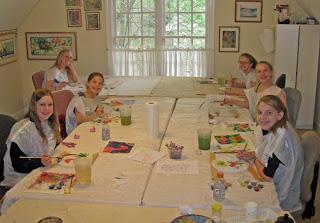 Deborah Younglao silk painting class in progress