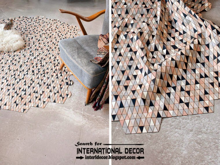 New collection of Eco-friendly wooden carpet and rugs, grey and black