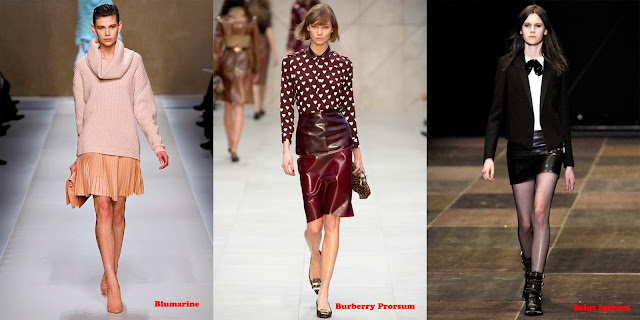 Tendencias mujer otoño/invierno 2013/14 falda de cuero: Blumarine, Burberry Prorsum y Saint Laurent