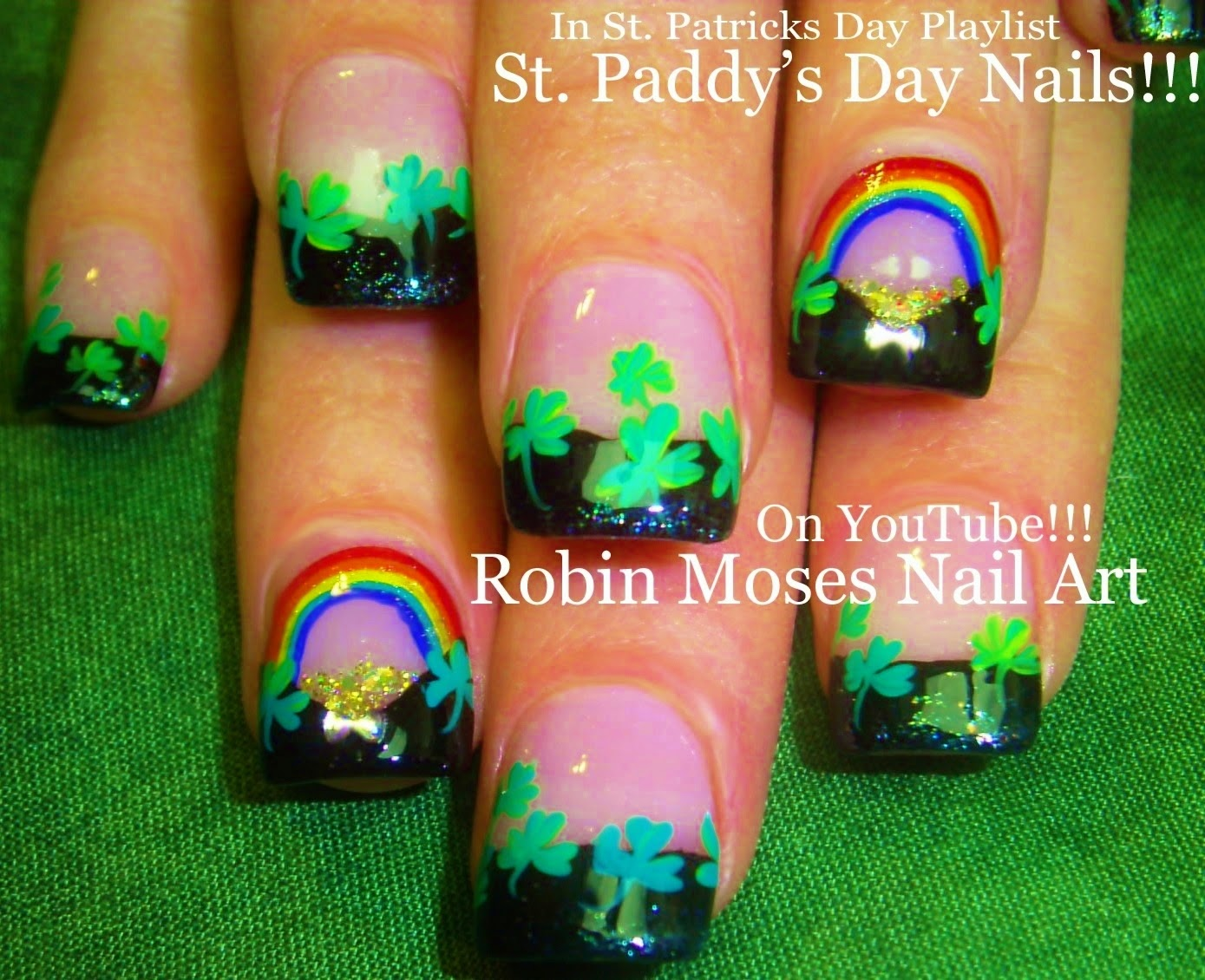 Robin moses nail art trendy st patricks day nails nail art trendy st patricks day nails nail art shamrock nails st paddys day 2015 st patricks day nail art design tutorial by robin moses prinsesfo Gallery