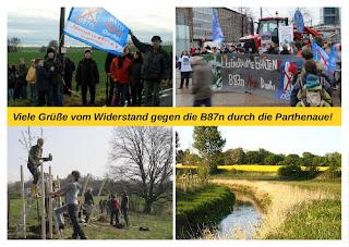 Viele Gruesse vom Widerstand gegen die B87n durch die Parthenaue!