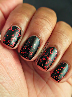 Spellbound Nails You're a Virgin??, Halloween, Hocus Pocus. the Black Flame Candle, black crelly, red glitter, indie brand, nails, nail polish, swatch