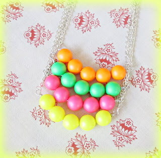 image neon fluoro bar necklaces silver orange yellow pink green two cheeky monkeys