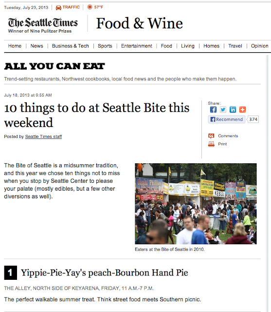 Yippie-Pie-Yay tops Seattle Time's Food & Wine Top 10 List of Things to Do