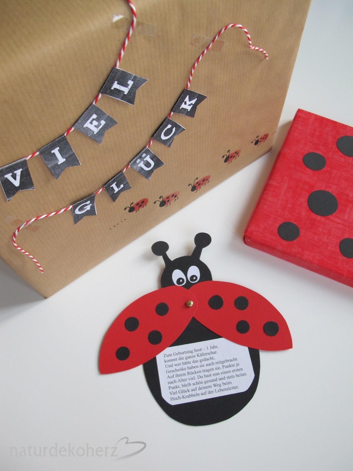 naturdekoherz: karte und geschenke im käferlook zum 1. geburtstag
