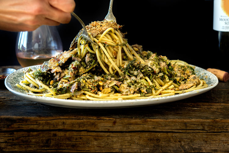 Wild Greens and Sardines : Pasta con le Sarde (Pasta with Sardines)