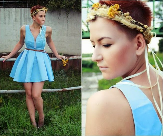 Sheinside Blue V Neck Backless Midriff Flare Dress
