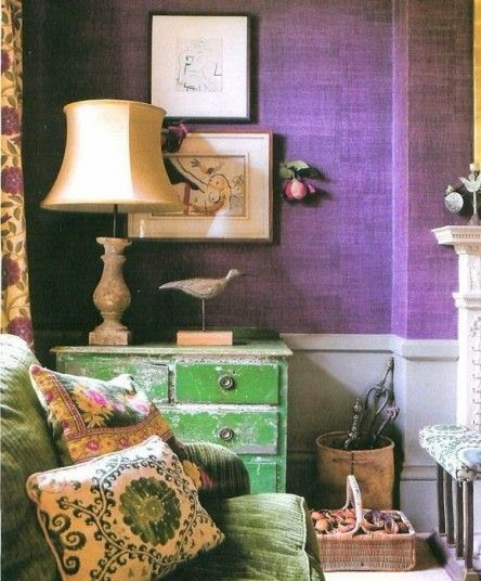 Emerald green and an amethyst shade of purple conjure a jewel-toned  richness that can't be denied.
