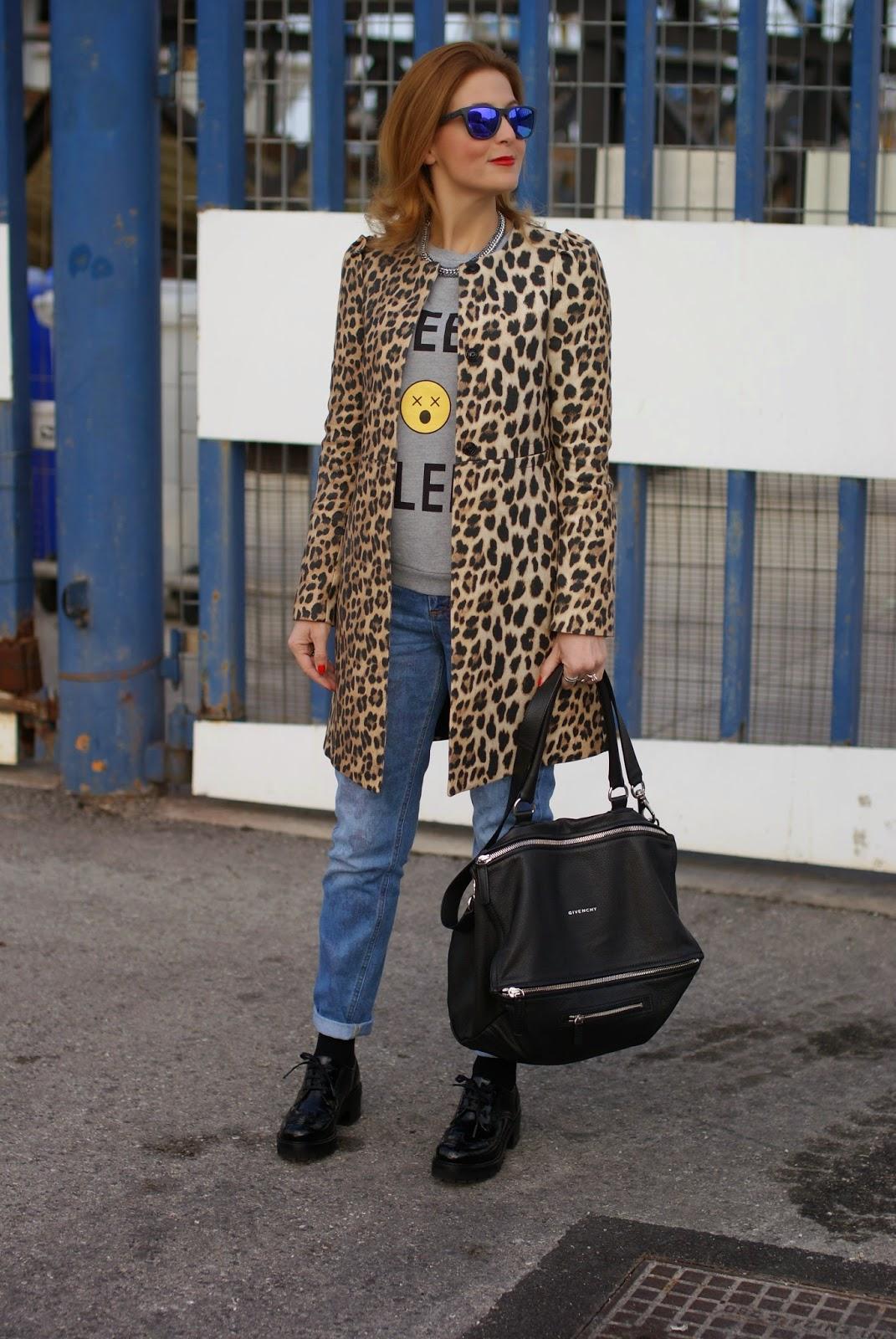 Zara leopard coat, Nando Muzi brogues, Daniel Wellington Classic Sheffield watch, Fashion and Cookies, fashion blogger