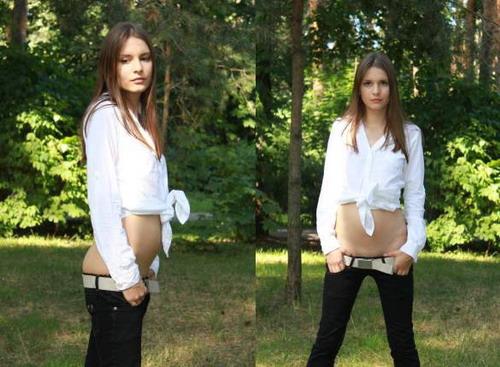Teen girls in low cut jeans