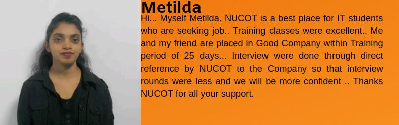 Metilda got placed as an IT Support
