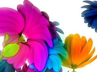 Coloridas flores en 3D Fotos de flores en 3D