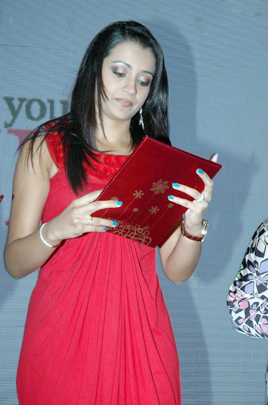 Trisha Latest Hot Photos in Red Dress glamour images