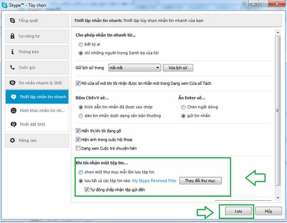 Chọn nơi cần lưu File khi có ai gửi file cho bạn