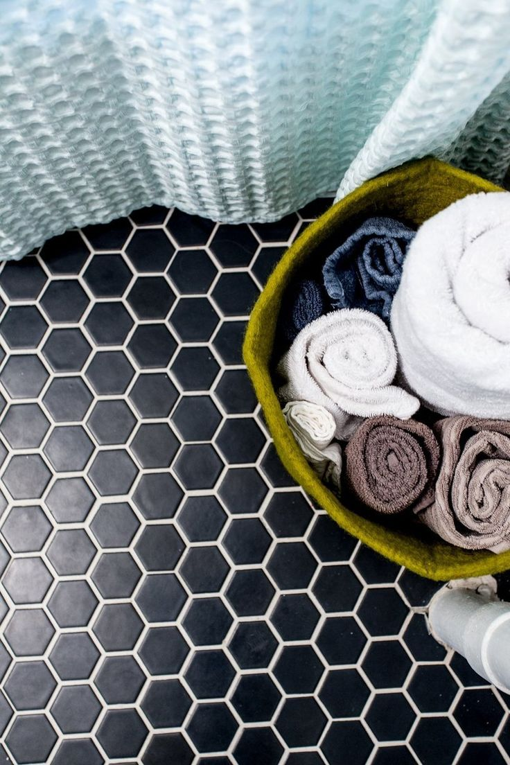 Aesthetic oiseau black hexagon bathroom floor for the floor i decided we are going to do a black hexagon tile and im pretty jazzed about it i think it will be a perfect statement dailygadgetfo Gallery
