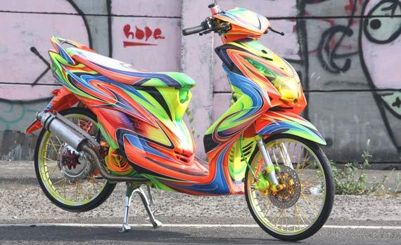 Gambar Jenis Modifikasi Yamaha Mio Airbrush title=